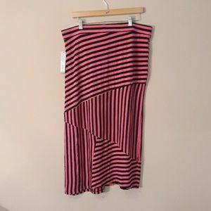 Apt 9 Pink / Black Stripe Maxi Skirt PXL NEW